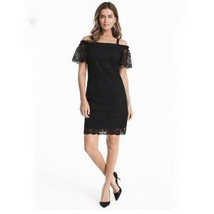 WHBM COLD SHOULDER BLACK LACE SHIFT DRESS